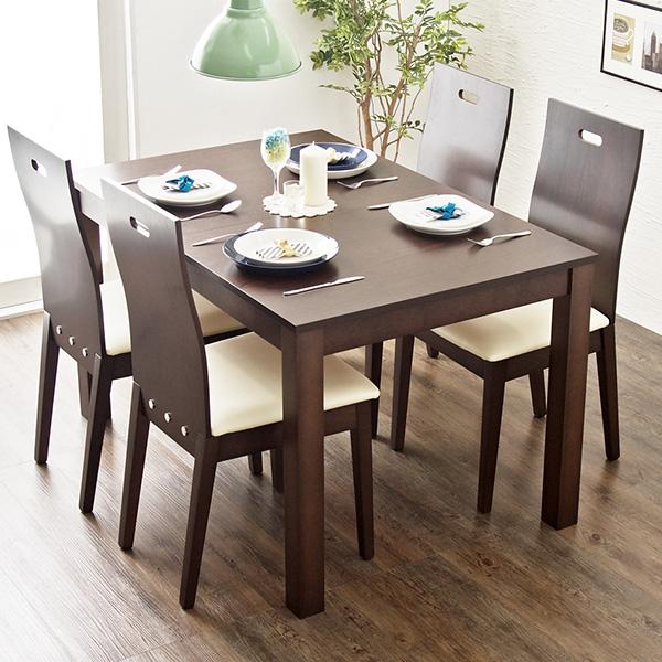 ダイニング 伸張式 5点セット 5点 ダイニングセット テーブル チェア 椅子 食卓 伸縮 ブラウン ナチュラル 木製 天然木 フェイス 【開梱設置無料】【送料無料】(代引不可)