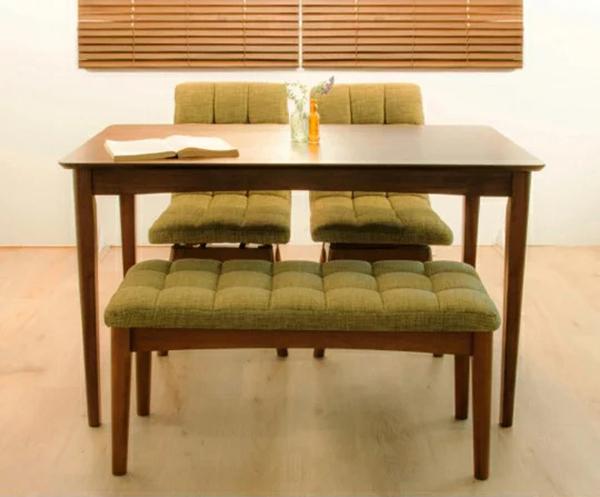 ダイニングテーブル 4点セット ダイニングセット 幅120cm 回転ダイニングチェア2脚+ベンチチェア 木目 食卓用(代引不可)【送料無料】