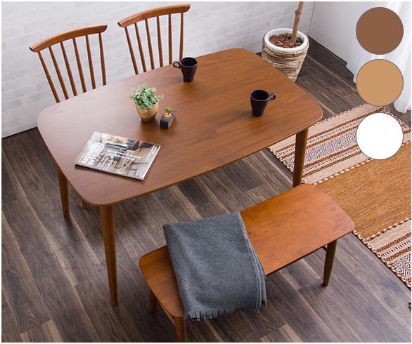 ダイニングテーブル4点セット 幅120cm ダイニングチェア2脚+ベンチ ダイニングセット 木製テーブル ダイニングテーブル(代引不可)【送料無料】【int_d11】