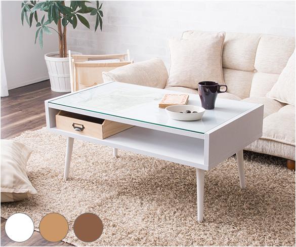 テーブル リビングテーブル センターテーブル ディスプレイテーブル ローテーブル ガラス天板 小さめ 収納 かわいい(代引不可)【送料無料】【int_d11】