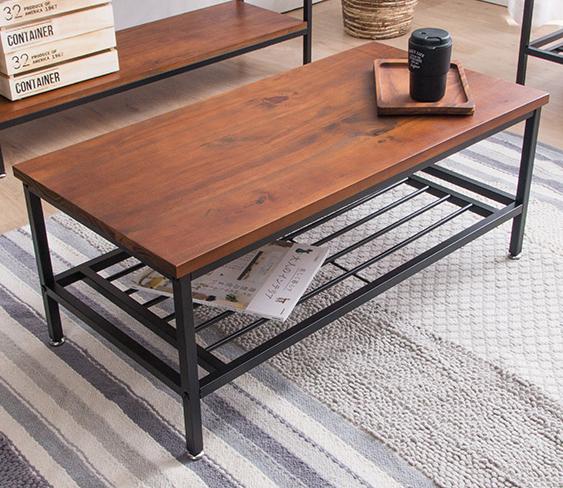 センターテーブル ローテーブル 幅100cm リビングテーブル table テーブル ラフ おしゃれ 無垢材 棚付 収納 アイアン スチール(代引不可)【送料無料】【int_d11】