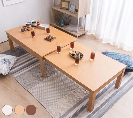 W100 センターテーブル 伸長式センターテーブル 伸縮式 幅100~178.5 伸張式 リビングテーブル ローテーブル 伸ばせる 木目(代引不可)【送料無料】【int_d11】