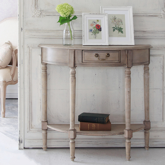 ラウンドコンソールテーブル 木製テーブル アンティークシャビーシック シシリー ディスプレイ 木製 姫 プリンセス カントリー(代引不可)【送料無料】
