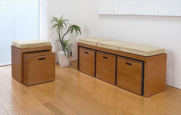 ベンチチェスト チェスト 収納 天然木 収納ボックス クッション付き 引き出し付き 引き出し収納 LS-9120(代引不可)【送料無料】