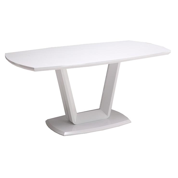 ダイニングテーブル 食卓テーブル ホワイトテーブル 鏡面塗装 幅160cm 奥行85cm 高72cm 軒先渡し 組立(代引不可)【送料無料】