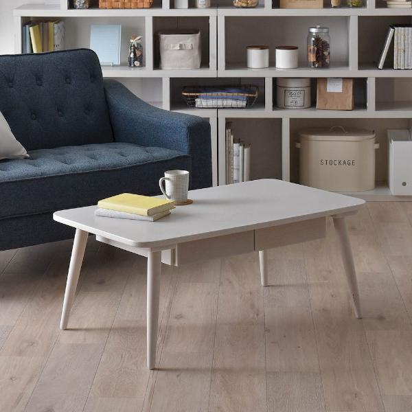 センターテーブル 木製 リビングテーブル 棚付 幅90cm ローテーブル(代引不可)【送料無料】