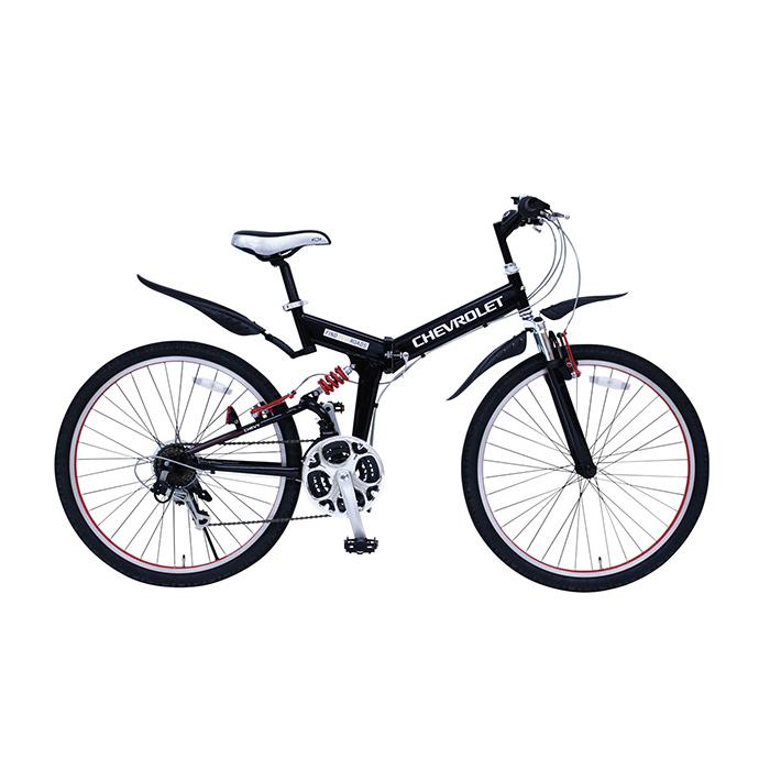 シボレー 折りたたみ自転車 マウンテンバイク 26インチ 18段ギア Wサス MG-CV2618E ブラック(代引不可)【送料無料】