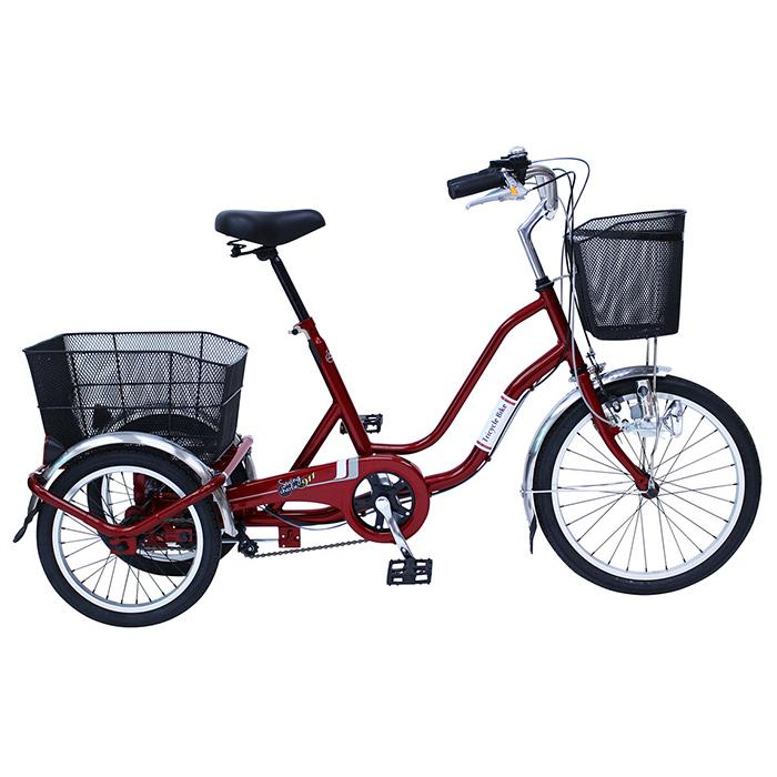 スイングチャーリー 三輪自転車 20インチ ノーパンクタイヤ MG-TRW20NE ワインレッド ロック・ライト付(代引不可)【送料無料】