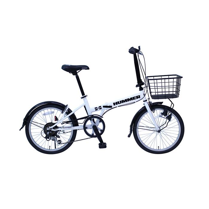 ハマー 折りたたみ自転車 マウンテンバイク 20インチ 6段ギア ロック・ライト付 MG-HM206F-RL ホワイト(代引不可)【送料無料】