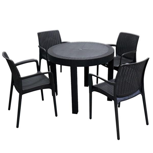 ラタン調ビストロラウンドテーブル ラタン調ビストロチェア5点セット チェア4つ付き テーブル アジアンリゾート C&D18-931(代引不可)【送料無料】