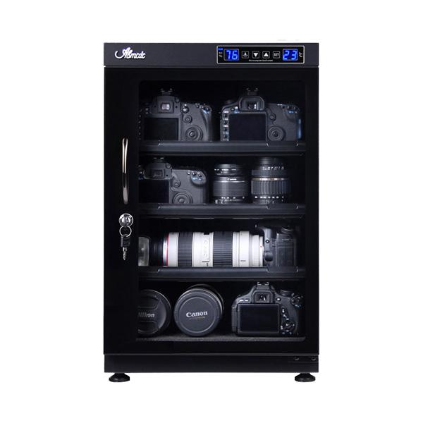 防湿庫 全自動 湿度管理 湿気対策 カメラ レンズ 保管 カギ付 LED庫内灯付 スライド式棚 高さ調節可能棚 強化ガラス 容量88L(代引不可)【送料無料】