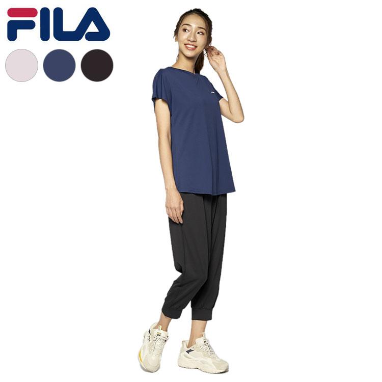 送料無料 フィラ FILA NEW 贈答品 ARRIVAL 無地TEEシャツ+カプリパンツ Tシャツ ティーシャツ ジム パンツ 運動 ヨガ フィットネス スポーツ