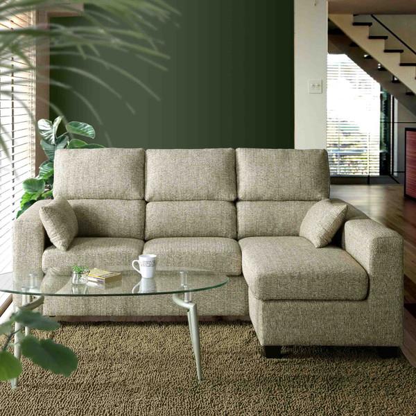 カウチソファ sofa 3人掛け ファブリック 組み換えソファ 開梱設置無料 ほぼ完成品 クッション2個付き おしゃれ 幅191cm(代引不可)【送料無料】【S1】