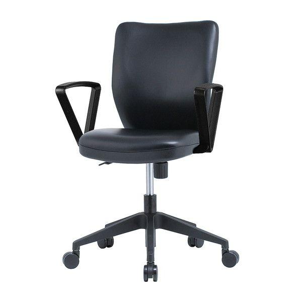 オフィスチェア 肘無し PVCレザータイプ ブラック HC-P102BK オフィス チェア チェアー オフィス用(代引不可)【送料無料】