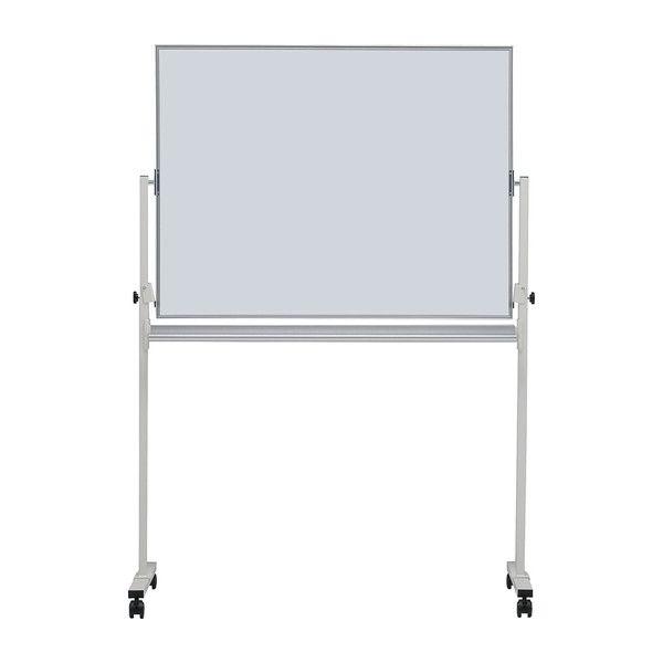 ホワイトボード 無地両面34 脚付き 板面サイズ:120×90cm 横型 ホーロー イレイサー付き 白板 whiteboard キャスター付き 両面(代引不可)【送料無料】