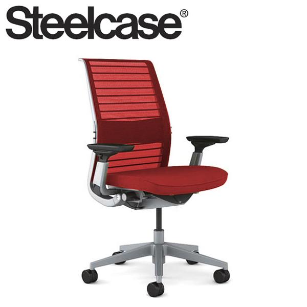 【Steelcase】 スチールケース シンクチェア AJアーム付 プラチナフレーム 受注生産品 3Dニット 可動ランバー付き デスクチェア(代引不可)【送料無料】