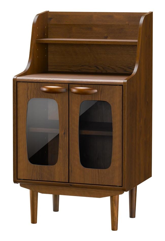 キャビネット 収納 リビング収納 チェスト ウォールナット調 北欧 デザイン家具 キャビネット ブラウン(代引不可)【送料無料】