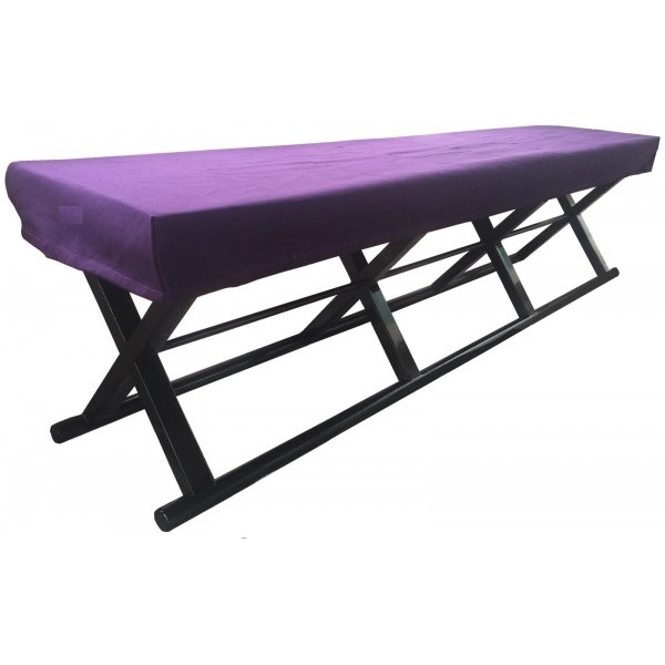 鈴木木工所 4人掛角椅子(胡床型) 紫覆布付き 黒【送料無料】