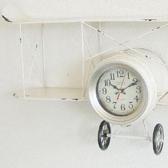 Wall clock ウォールクロック バイプレーン ホワイト・31061(代引き不可)【送料無料】
