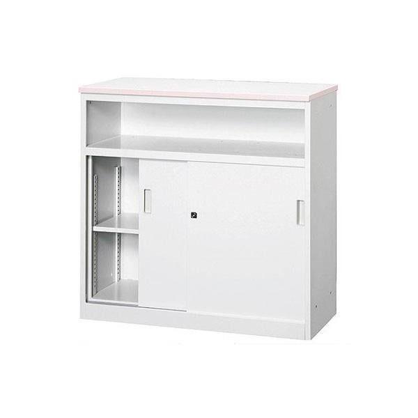 オフィス・店舗向け システムカウンター 中棚付ハイカウンター 鍵付 天板W900×D450mm ピンク・COM-CVA-9HST(代引き不可)【送料無料】
