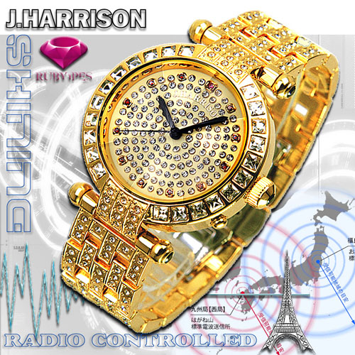 J.HARRISON 天然ルビー1石付シャイニング電池式電波時計紳士用 JH-088M【送料無料】