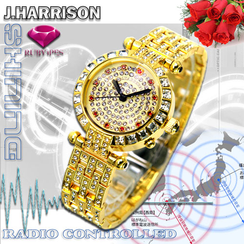 J.HARRISON 天然ルビー1石付シャイニング電池式電波時計婦人用 JH-088L【送料無料】