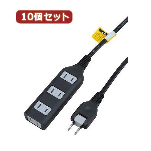 YAZAWA 【10個セット】耐トラ付タップ4個口 Y02S403BKX10