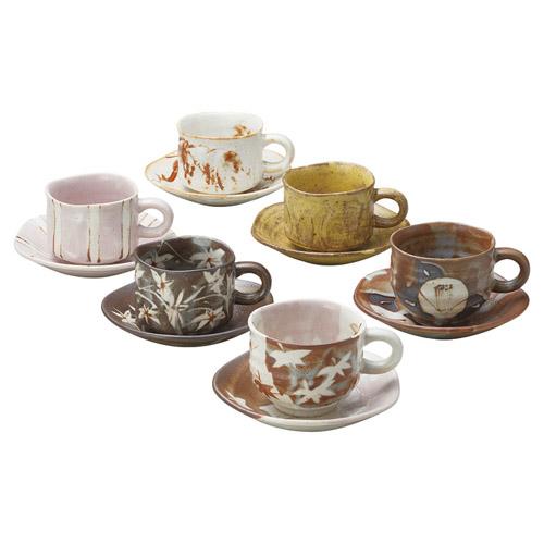 窯変手造りコーヒー碗皿6客揃 雑貨 ホビー インテリア 雑貨 雑貨品【送料無料】