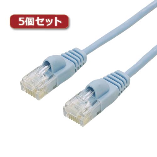 【5個セット】 ミヨシ カテ6ストレートLANケーブル スリムタイプ 直径3.5mm ブルー 20m LAN-TS620BLX5【送料無料】