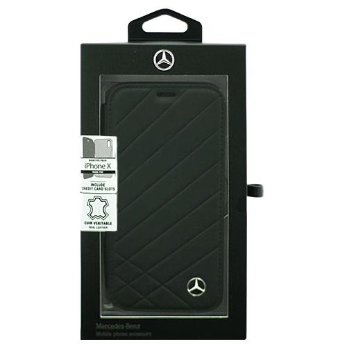 Mercedes 公式ライセンス品 iPhoneX専用 本革手帳型ケース PATTERN II - Genuine Leather -Booktype Case - Black(代引不可)【int_d11】