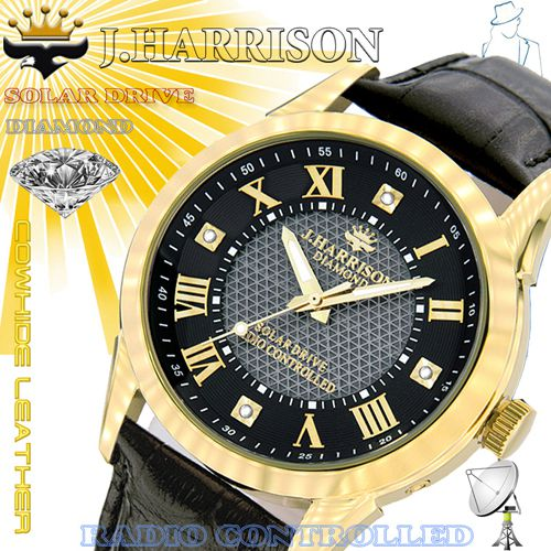 J.HARRISON 4石天然ダイヤモンド付・ソーラー電波時計 JH-085MGB(代引不可)【送料無料】