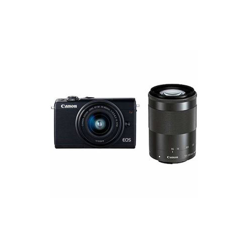 Canon EOSM100BK-WZK ミラーレス一眼カメラ 「EOS M100」 ダブルズームキット ブラック EOSM100WZOOMKIT(代引不可)【送料無料】【int_d11】
