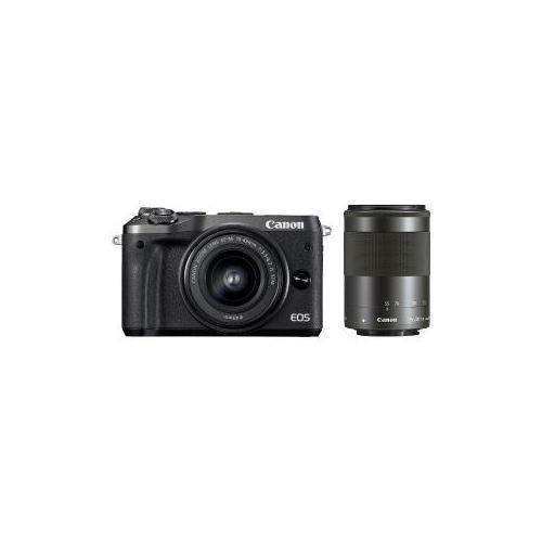 Canon EOSM6-WZKBK ミラーレス一眼カメラ 「EOS M6」 ダブルズームキット(ブラック) EOSM6WZOOMKIT(代引不可)【送料無料】