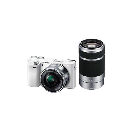 SONY デジタル一眼カメラ α6000 ダブルズームレンズキット (ホワイト) ILCE-6000Y-W(代引不可)【送料無料】