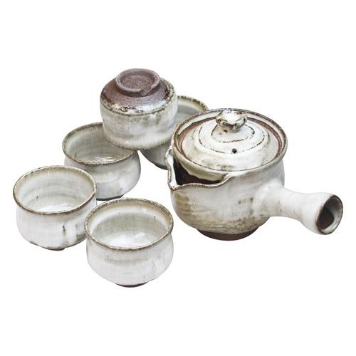 萩焼 白釉茶器揃 M81208518(代引不可)【送料無料】