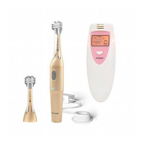 電動歯ブラシ COOLSSHA 3方向同時 電動歯ブラシ IPX7完全防水 ゴールド+ポータブルニオイチェッカー2 CS-0001GD+PRTDOR8V(代引不可)