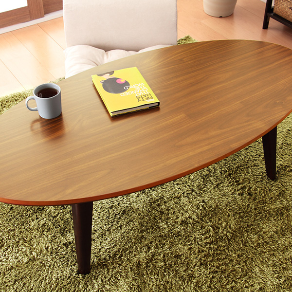こたつ オーバル型 楕円形 デザイン こたつテーブル ナチュラル ブラウン 【LYND】リンド (120×60)(代引不可)【送料無料】【S1】