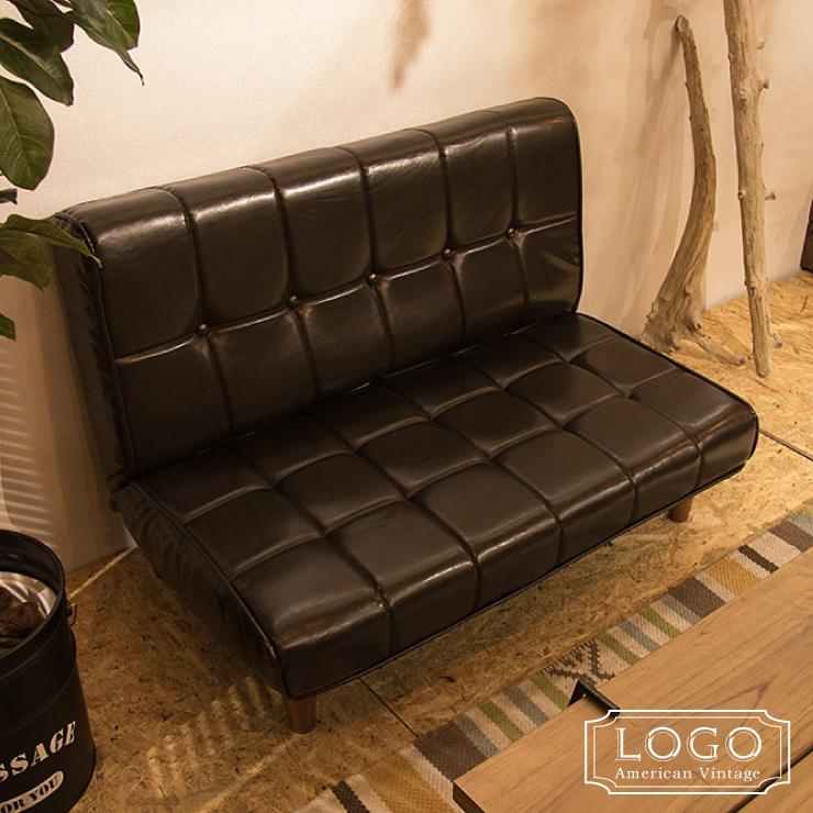 フロアソファ LOGO ロゴ 2WAY リクライニング ソファ 座椅子 ローチェア 二人用 2P チェア ソフトレザー ソファー アメリカン(代引不可)【送料無料】