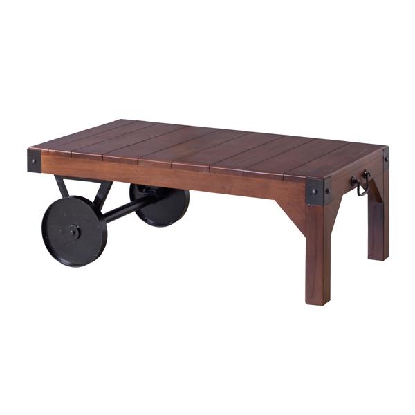 テーブル リビングテーブル センターテーブル 木製 おしゃれ 人気 車輪付き ローテーブル 古木風 カフェ アイアン アメリカン(代引不可)【送料無料】【int_d11】