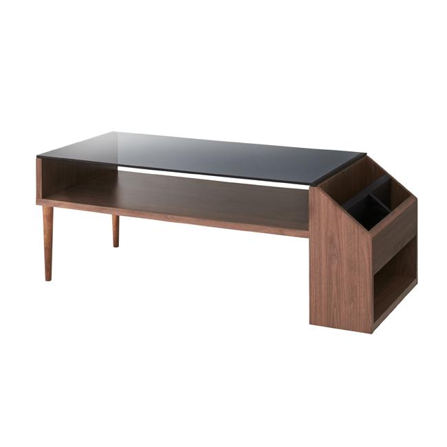 センターテーブル 幅105×奥行45×高さ38cm ガラステーブル ユニークデザイン オシャレ ブックシェルフ カントリースタイル 木目(代引不可)【送料無料】