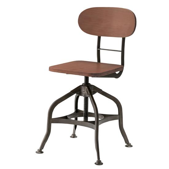 チェア 椅子 チェア デスクチェア 高さ調節 いす イス 背もたれあり ハイチェア 幅38cm 座面高40-59cm ブラック 木製 スチール(代引不可)【送料無料】