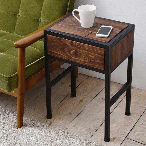 サイドテーブル 天然木 北欧 木製 テーブル ナイトテーブル ベッドテーブル ソファーテーブル アイアン おしゃれ(代引不可)【送料無料】