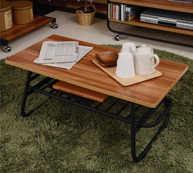 センターテーブル 木製 テーブル メラミン ローテーブル リビングテーブル アイアン パイプ 北欧(代引不可)【送料無料】【int_d11】