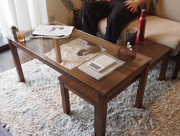 ウォールナットネストテーブル ツインテーブル センターテーブル ローテーブル リビングテーブル ガラステーブル(代引不可)【送料無料】【int_d11】