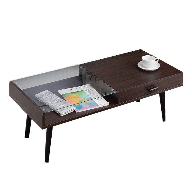 ガラス収納テーブル テーブル ローテーブル リビングテーブル センターテーブル 収納 ガラス製 シンプル(代引不可)【送料無料】【int_d11】