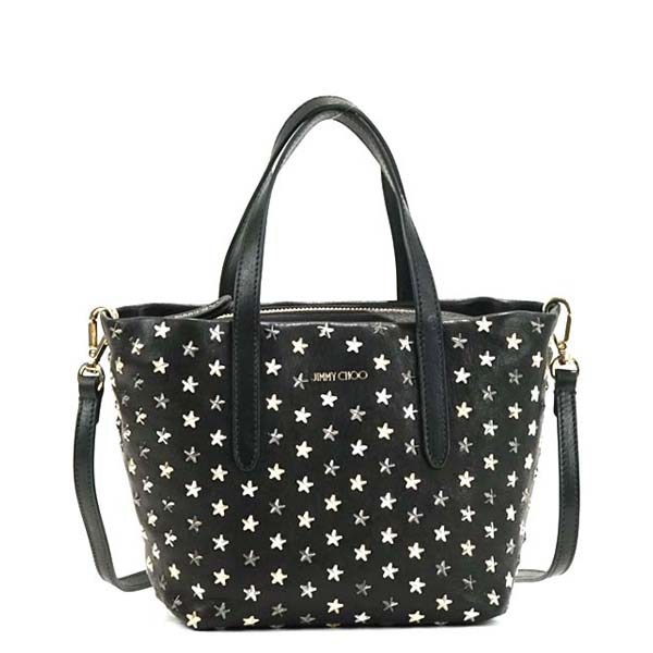 Jimmy Choo ジミーチュー トートバッグ MINISARA LEATHER W/MULTI METAL MINI STARS BLACK/METALLIC MIX BK