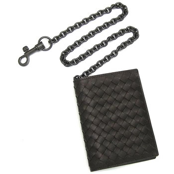 Bottega Veneta BOTTEGA VENETA wallet 2 fold cards 130683 BILLFOLD WITH  CHAIN UOMO EBANO f8e8606727466