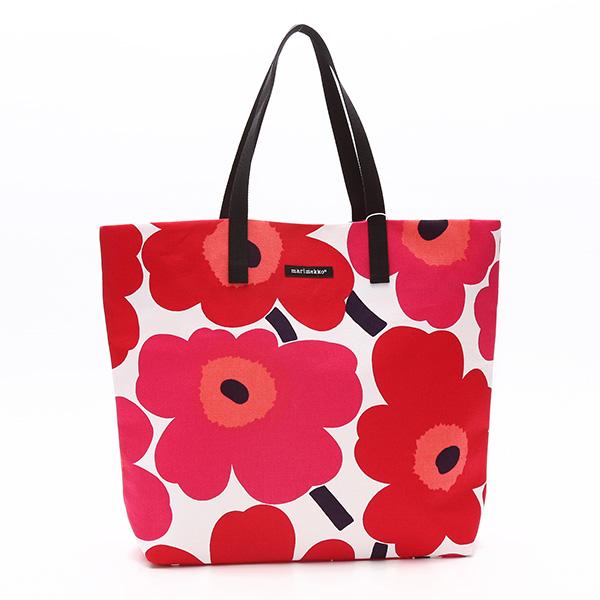 マリメッコ marimekko トートバッグ 43461 SILJA SHOPPER BAG WHITE/RED RED