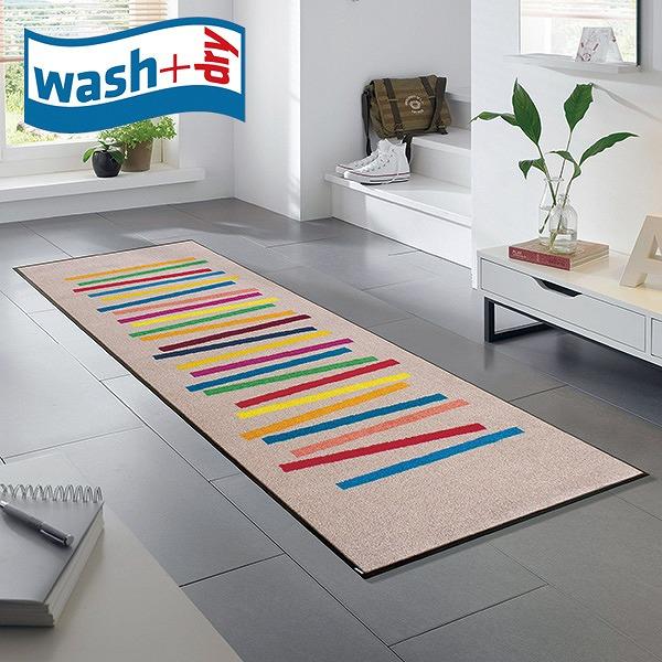 キッチンマット wash+dry C011C Mixed Stripes 60×180cm 柄物 おしゃれ 滑り止めラバーつき(代引不可)【送料無料】