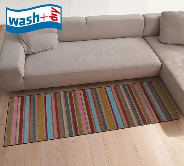 キッチンマット wash+dry C014C Stripes 60×180cm 柄物 おしゃれ 滑り止めラバーつき(代引不可)【送料無料】